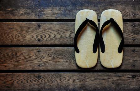 Japan sandals on a wooden floor