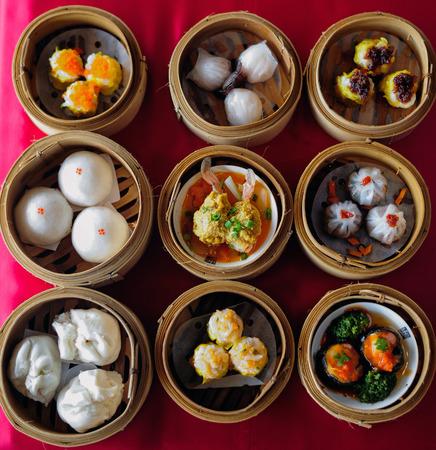竹スティーマー中国料理で点心 写真素材