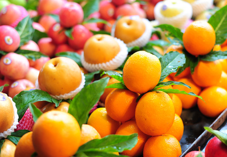 Mandarins orange in market photo