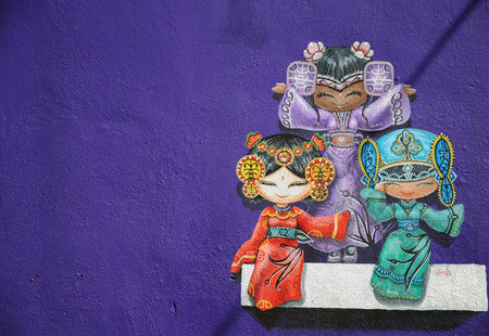 gained: PENANG, MALAYSIA- MAY 12, 2014   Wall grafitti of three chinese dolls, Penang Malaysia  These wall graffitti has gained reputation and become part of Penang tourist attractions
