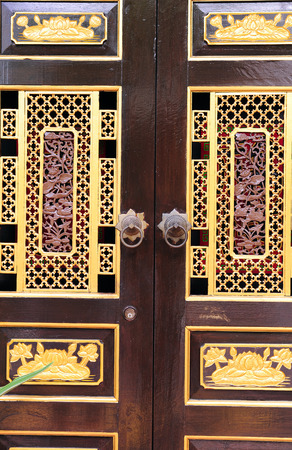 wooden door with chinese traditional style pattern photo