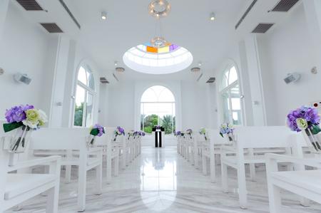 Beautiful wedding decoration in white church