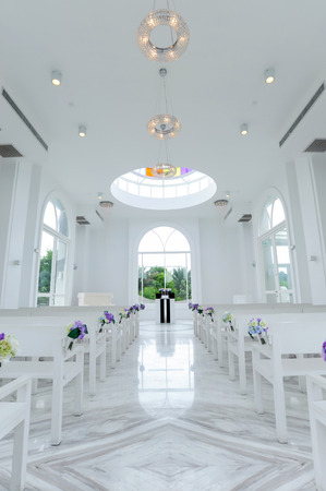 Beautiful wedding decoration in white church