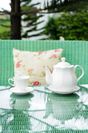 Teapot and cup on table in garden photo