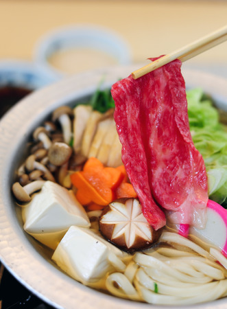 Sukiyaki japanese style with wagyu beef Stock Photo