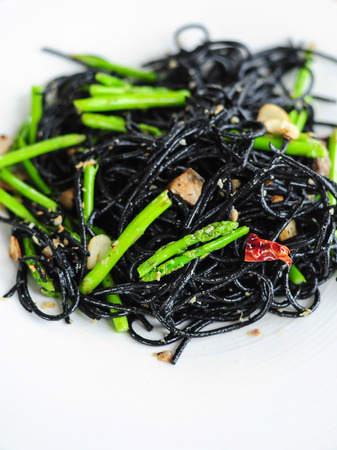resturant: Black Spaghetti with salted fish in Thai resturant Stock Photo