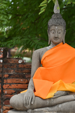 chaimongkol: Buddha statues at Wat Yai Chaimongkol Ayutthaya bangkok thailand Stock Photo