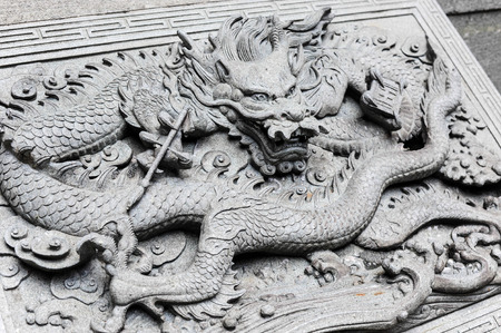 TAIWAN - JUNE 11 : Marble carving in Chinese temple The temple open to the public to watch And allowed to take photos in the temple no restriction in copy or use on june 11, 2014, Taiwan
