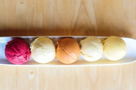 yogurt ice cream: Colorful Ice cream on table Stock Photo