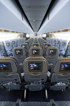 TAIWAN - JUNE 10 :Inside aircraft empty seats and windows before on runway on 10 june ,2014,Taiwan