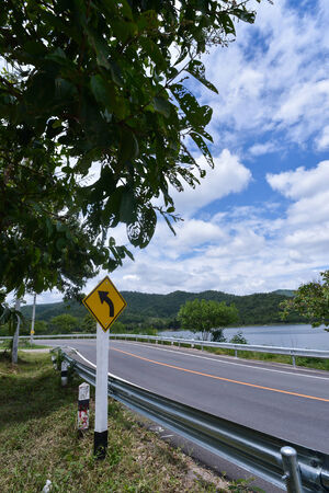 non marking: Curve Road in Thailand ,riverside and near mountain Stock Photo