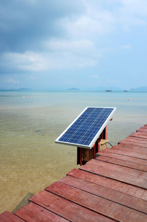 pollution free: solar cell battery near sea