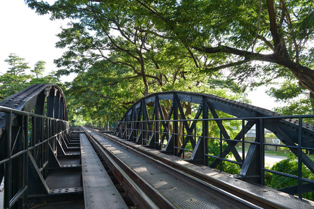 Death railway bridge over river kwai in Kanchanaburi Thailand
