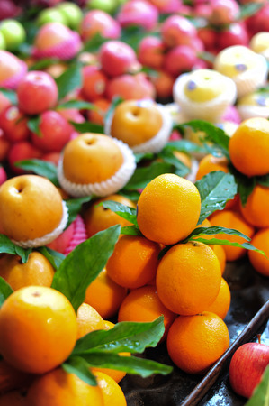 Mandarins orange in market photo