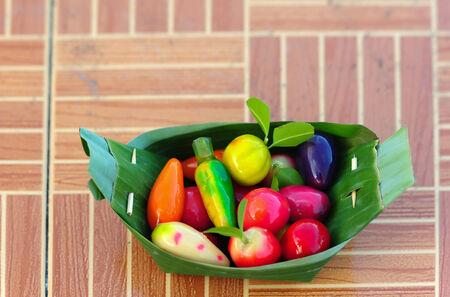 imitation: deletable imitation fruits (thai dessert) Stock Photo