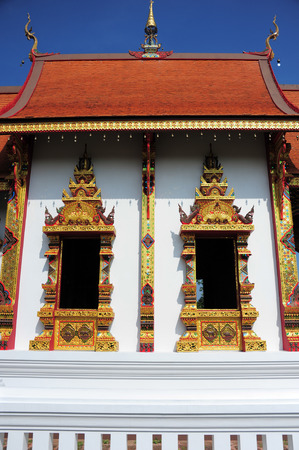 LAMPANG , THAILAND - NOVEMBER 21, 2014: Amazing Lanna architectural styles of Wat Phra that Chom ping Temple.Lampang, Thailand, November 21, 2014. photo