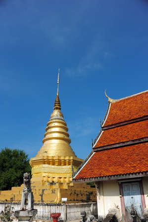 Amazing Lanna architectural styles of Wat Phra that Chom ping Temple. photo