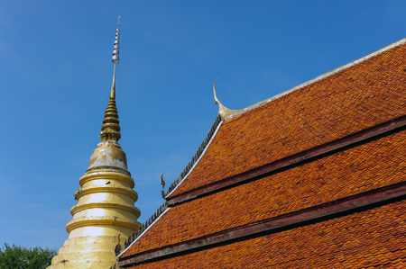 LAMPANG , THAILAND - NOVEMBER 21, 2014: Amazing Lanna architectural styles of Wat Phra that Chom ping Temple.Lampang, Thailand, November 21, 2014.
