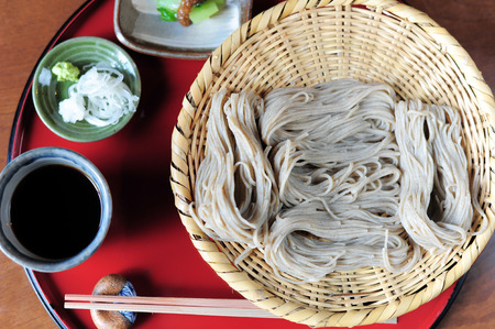 buckwheat noodle: Japanese noodles of a soba with soup and vegetables Stock Photo