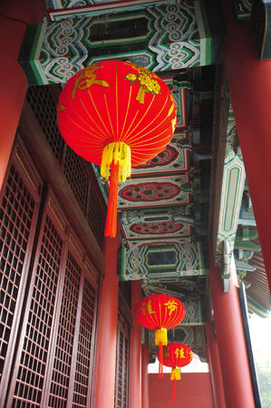 Red Chinese lamp in chinese temple photo