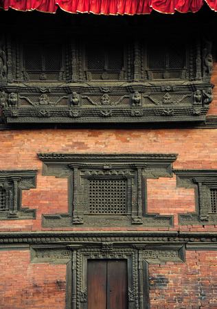 PATAN NEPAL  FEBRUARY 22 2015 : Beautifully carved at Patan Museum in Patan Nepal on 22 February 2015. Patan Museum is an old royal palaces of the former Malla kings of the Kathmandu Valley.