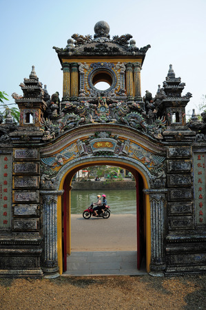 march 17: HUE VIETNAM  MARCH 17 2015 : Front Palace of Cung an dinh in Hue vietnam on 17 March 2015. Editorial