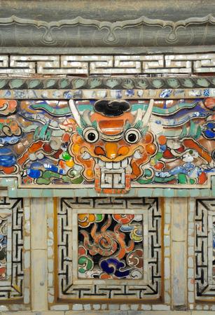 17 march: HUE VIETNAM  MARCH 17 2015 : porcelain decoration inside emperor Khai Dinh great tomb. A UNESCO Heritage site on 17 March 2015.