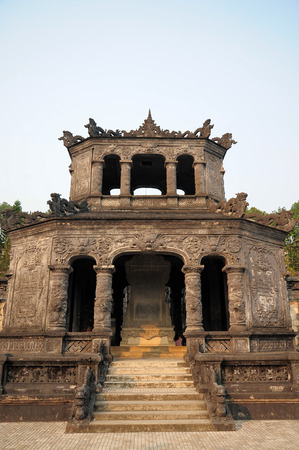 17 march: HUE VIETNAM  MARCH 17 2015: the front of emperor Khai Dinhs tomb. A UNESCO Heritage site on 17 March 2015.