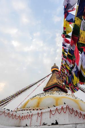 KATHMANDU NEPAL FEBRUARY 23: Surroundings around Boudhanath stupa on February 23 2015 Kathmandu Nepal. Boudhanath is a UNESCO World Heritage Site one of the most popular tourist sites in Kathmandu. Editorial