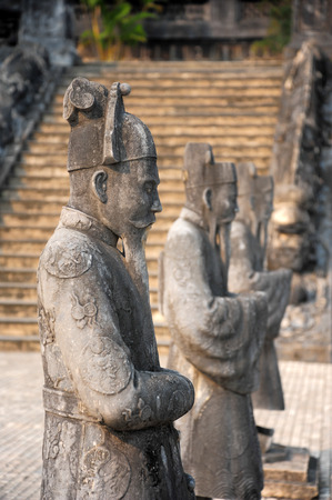 17 march: HUE VIETNAM  MARCH 17 2015: Stone soilder statue in emperor Khai Dinhs tomb. A UNESCO Heritage site on 17 March 2015.