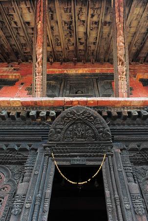 art and craft: BHAKTAPURNEPALFEBRUARY 17 2015: Detail of art craft front of Temples in Durbar Square in Bhaktapur Kathmandu valey Nepal on February 17 2015. Stock Photo