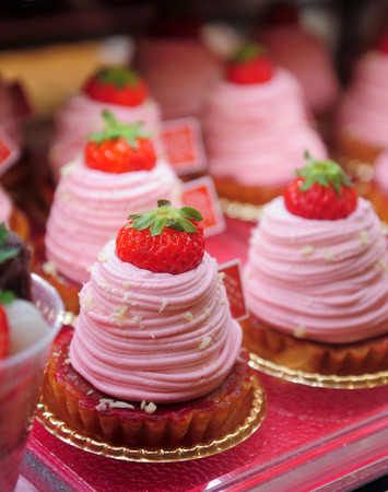 Pastry shop with strawberry cake