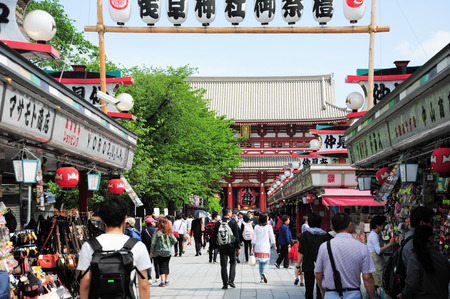TOKYOJAPAN  30 April 2015 :Nakamise a shopping street that has been providing Sensoji temple visitors with a variety of traditional local snacks and tourist souvenirs for centuries.