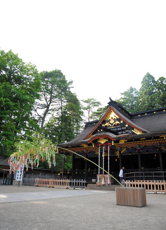 hachimangu: SENDAI,JAPAN-APRIL 8:Osaki Hachimangu Temple ordered by Date Masamune in 1607. The shrines deity, Hachiman, is the Shinto god of war and considered to be a general guardian and protector of the city