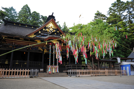 hachimangu: SENDAI,JAPAN-JULY 7:Osaki Hachimangu Temple ordered by Date Masamune in 1607. The shrines deity, Hachiman, is the Shinto god of war and considered to be a general guardian and protector of the city Editorial