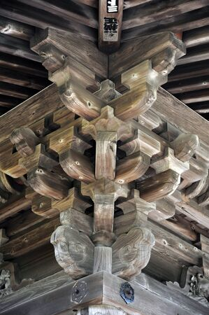 wood structure: Detail of Japanese temple old wood structure Editorial