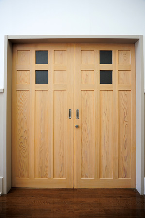wooden floors: Traditional classic Japanese style sliding wooden door Stock Photo