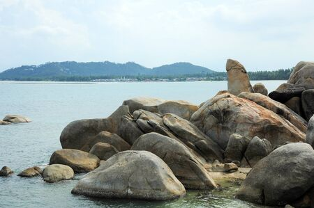 phallus: Grangfather and Grandmother rocks or Hin Ta Hin Yai in Samui island Thailand Stock Photo