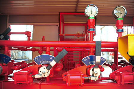 natural process: Valves manual in the process. Production process used manual valve to control the system Stock Photo