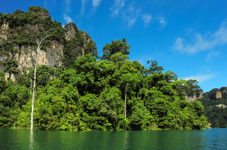 surat: Beautiful mountains and river natural attractions in Ratchaprapha Dam at Khao Sok National Park, Surat Thani Province, Thailand.