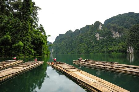 sok: Motor raft wharf in Ratchaprapha Dam at Khao Sok National Park, Surat Thani, Thailand Stock Photo