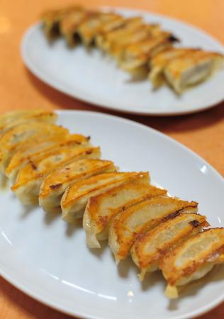 pan fried: Pan fried dumplings japanese gyoza style