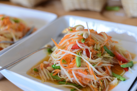 Somtum or Papaya salad native food in the northeast of Thailand.