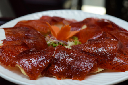 Peking duck skin deep fried serve