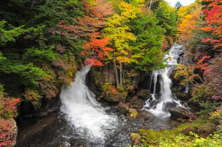 Ryuzu (Dragon Head) Waterfall a Famous waterfall in Nikko Japan.