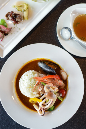 Japanese Curry Seafood and side dish