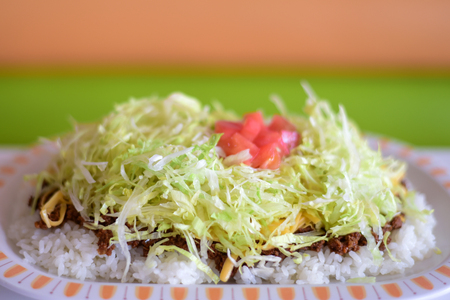 Taco rice a Japanese dish and a popular of Okinawan cuisine