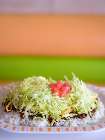 meaty: Taco rice a Japanese dish and a popular of Okinawan cuisine