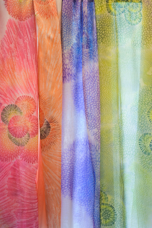 Shuri Ryusen made with coral dye crafts,on silk is one of the historical Okinawa.