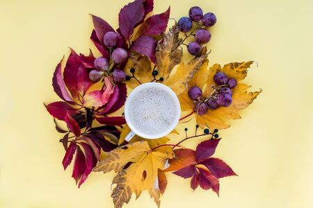 Autumn composition. mug of cappuccino and yellow and red leaves with berries on a yellow background. autumn background. flat lay, top view, copy space.